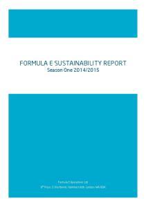 FORMULA E SUSTAINABILITY REPORT