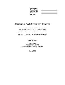 FORMULA SAE STEERING SYSTEM