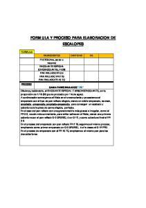 FORMULA Y PROCESO PARA ELABORACION DE ESCALOPES