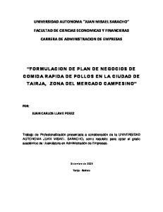 FORMULACION DE PLAN DE NEGOCIOS DE COMIDA RAPIDA DE POLLOS EN LA CIUDAD DE TAIRJA, ZONA DEL MERCADO CAMPESINO