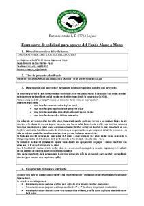Formulario de solicitud para apoyos del Fondo Mano a Mano