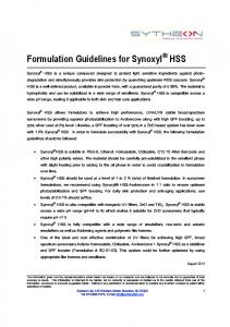 Formulation Guidelines for Synoxyl HSS