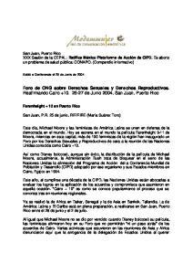 Foro de ONG sobre Derechos Sexuales y Derechos Reproductivos. Reafirmando Cairo de Junio 2004, San Juan, Puerto Rico