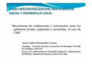 FORO: DESCENTRALIZACION, PARTICIPACION SOCIAL Y DESARROLLO LOCAL