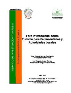 Foro Internacional sobre Turismo para Parlamentarios y Autoridades Locales