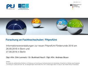 Forschung an Fachhochschulen: FHprofUnt