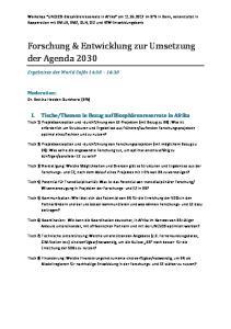 Forschung & Entwicklung zur Umsetzung der Agenda 2030