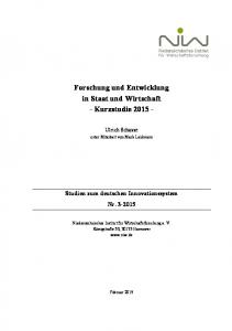 Forschung und Entwicklung in Staat und Wirtschaft - Kurzstudie