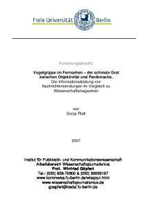 Forschungsbericht: von Sonja Platt