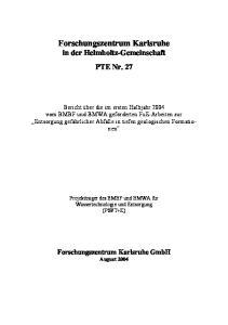 Forschungszentrum Karlsruhe in der Helmholtz-Gemeinschaft PTE Nr. 27