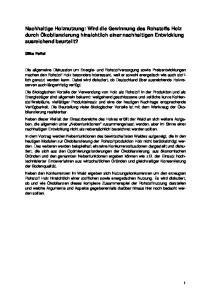 Forschungszentrum Karlsruhe in der Helmholtz-Gemeinschaft. Nachhaltige Holznutzung:
