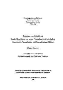 Forschungszentrum Karlsruhe. Technik und Umwelt. Wissenschaftliche Berichte FZKA Hydrolyse von Sodalith zur