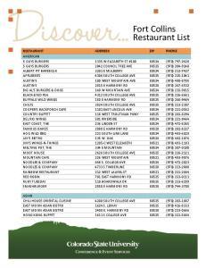 Fort Collins Restaurant List