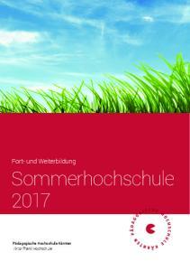 Fort- und Weiterbildung Sommerhochschule 2017