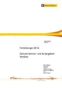 Fortbildungen Zentrale Seminar- und Kursangebote Vorschau. Regens Wagner Direktion