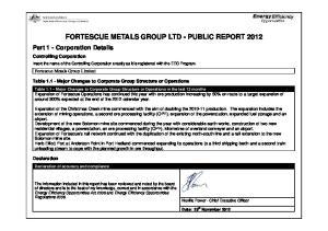 FORTESCUE METALS GROUP LTD - PUBLIC REPORT 2012