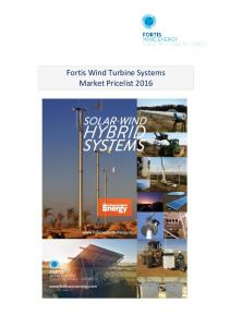Fortis Wind Turbine Systems Market Pricelist 2016