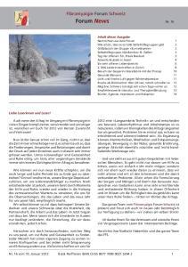 Forum News Nr. 16. Fibromyalgie Forum Schweiz. Fibromyalgie Forum Schweiz Forum News Nr. 16
