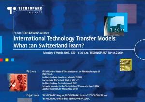 Forum TECHNOPARK -Alliance International Technology Transfer Models: What can Switzerland learn?