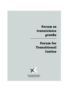 Forum za tranzicionu pravdu. Forum for Transitional Justice