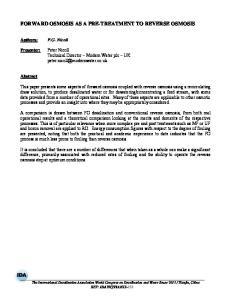 FORWARD OSMOSIS AS A PRE-TREATMENT TO REVERSE OSMOSIS