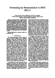 Forwarding by Retransmission in IEEE