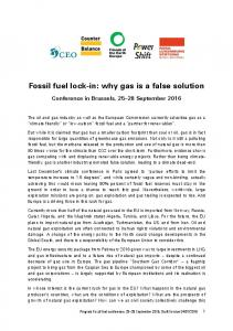 Fossil fuel lock-in: why gas is a false solution