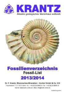 Fossilienverzeichnis Fossil-List