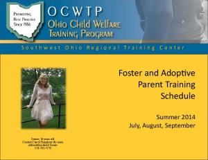Foster and Adop ve Parent Training Schedule