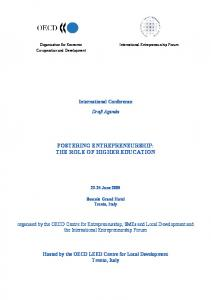FOSTERING ENTREPRENEURSHIP: THE ROLE OF HIGHER EDUCATION