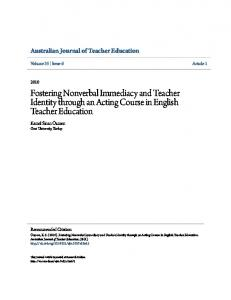 Fostering Nonverbal Immediacy and Teacher Identity through an Acting Course in English Teacher Education