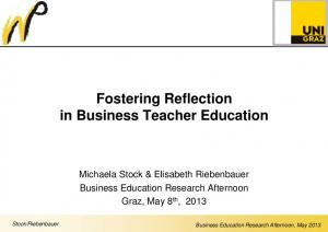 Fostering Reflection in Business Teacher Education