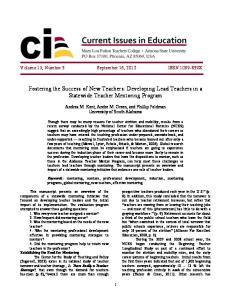 Fostering the Success of New Teachers: Developing Lead Teachers in a Statewide Teacher Mentoring Program