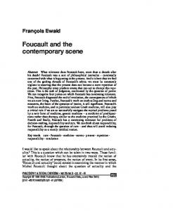 Foucault and the contemporary scene