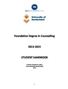 Foundation Degree in Counselling STUDENT HANDBOOK