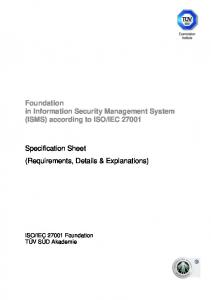 Foundation in Information Security Management System