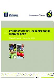 FOUNDATION SKILLS IN SEASONAL WORKPLACES