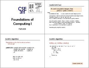 Foundations of Computing I