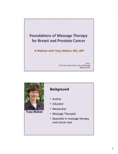 Foundations of Massage Therapy for Breast and Prostate Cancer