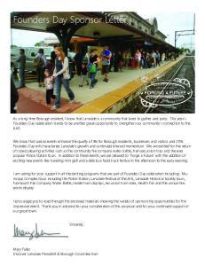 Founders Day Sponsor Letter
