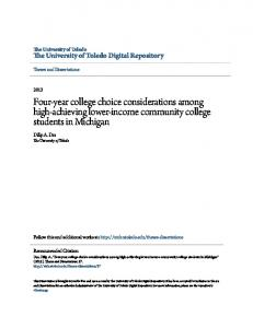 Four-year college choice considerations among high-achieving lower-income community college students in Michigan