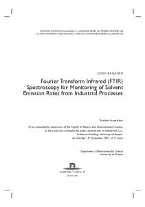 Fourier Transform Infrared (FTIR) Spectroscopy for Monitoring of Solvent Emission Rates from Industrial Processes