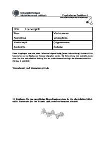 Fourieroptik. Matrikelnummer: Versuchsziel und Versuchsmethode: