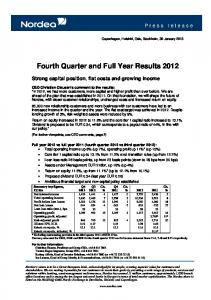 Fourth Quarter and Full Year Results 2012