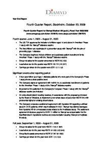 Fourth Quarter Report, Stockholm, October 23, 2009