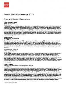 Fourth Shift Conference 2013