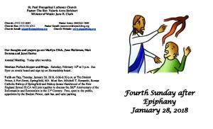 Fourth Sunday after Epiphany January 28, 2018