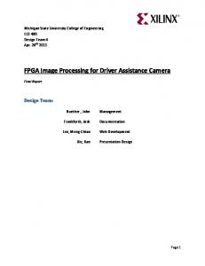FPGA Image Processing for Driver Assistance Camera
