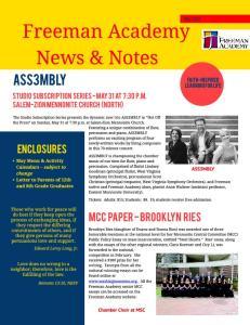 Fr eem an Academy New s & Notes