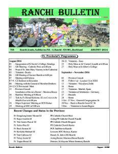 Fr. Provincial s Programmes